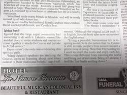 ACIM Mexico Community Newspaper Article Part 2